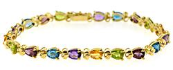 Amazing Natural Multi Gemstone Tennis Bracelet