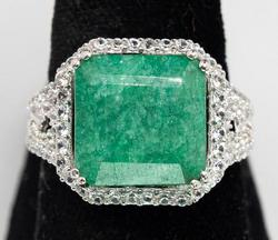 Gorgeous Emerald & White Sapphire Halo Ring, Sterling