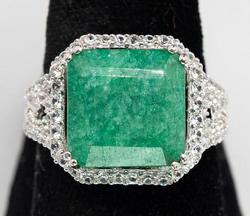 Beautiful Emerald & White Sapphire Halo Ring, Sterling