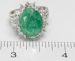 Fascinating 8.96CT Emerald & White Sapphire Ring, Sterling