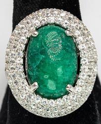 Sparkling Massive 11.0CTW Emerald & White Sapphire Ring, Sterling