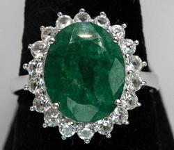 Simply Gorgeous Natural Emerald & White Topaz Ring in Sterling