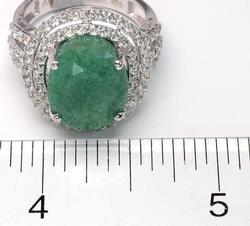 Fabulous Bold Emerald Ring with Tiered Sapphire Halo, Sterling