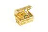 18K Yellow Gold 3D Treasure Chest Ruby Emerald Charm/Pendant