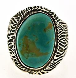 Sterling Silver Big Turquoise Textured Ring