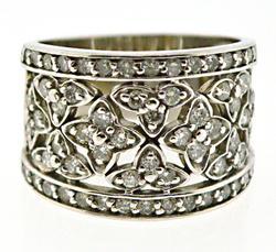 Sparkling White Gold 1.10ctw Floral Diamond Band