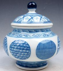 Hand Painted Blue and White Glazed Porcelain