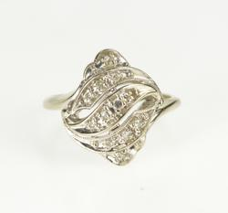 14K White Gold Art Deco Diamond Wavy Ornate Wavy Cocktail Ring