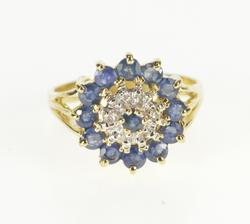 10K Yellow Gold Round Sapphire Diamond Cluster Cocktail Ring