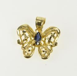 10K Yellow Gold Marquise Sapphire Inset Lattice Butterfly Pendant