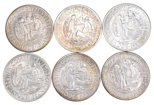 (6) 1936 Rhode Island Commemorative Half Dollars Various Mints - Unc