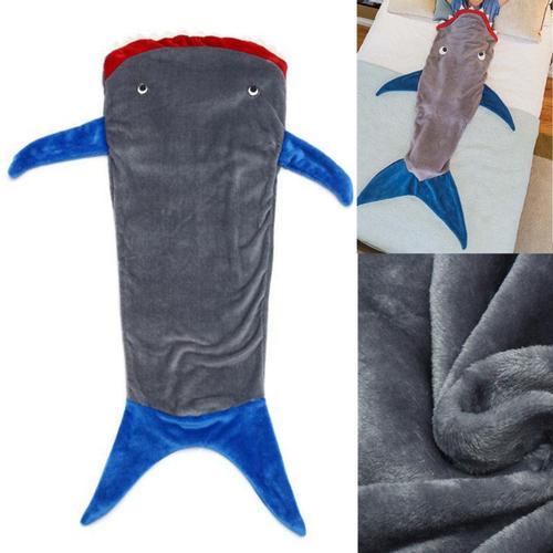 Warm Sleeping Bag Soft Dual Layer Flannel Shark