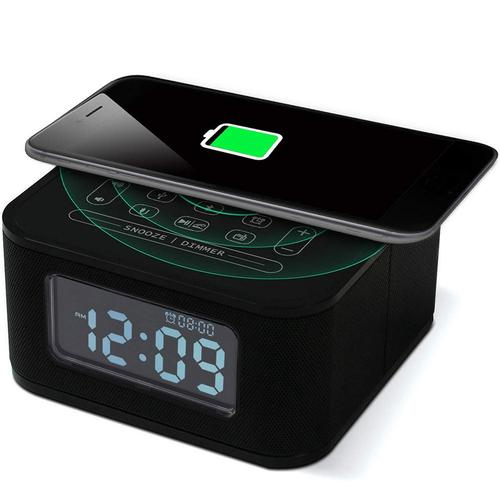 Wireless USB Charging Port Alarm Clock Radio Speaker