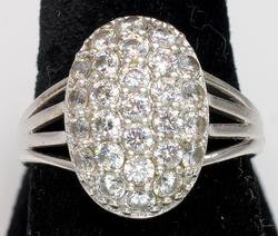 Flashy Crystal Cluster Ring in Sterling Silver