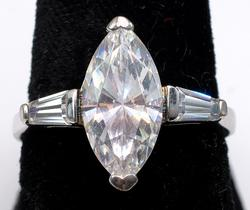Massive Marquise & Baguette CZ Ring in Sterling Silver