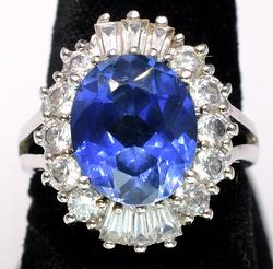 Bold Sapphire & CZ Halo Ring in Sterling Silver