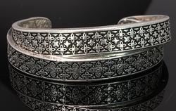 Interesting Etched Double Bangle in Sterling Silver