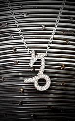 Designer 18K White Gold & Diamond Capricorn Necklace