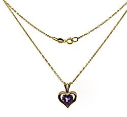 Pretty Amethyst Heart Pendant on Chain Necklace