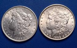 1886-1888 P Morgans From A Near Full Set of Morgans