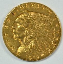 Pleasing 1912 US $2.50 Indian Gold Piece. Nice