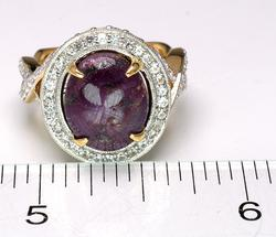 Captivating Star Ruby & Sapphire Ring in Gold-Overlaid Silver