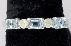 Delightful Aquamarine & Diamond Ring in Sterling Silver