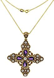 Handsome Pearl & Amethyst Maltese Cross Necklace