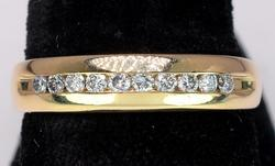 14KT Yellow Gold Band with Channel Set Diamonds