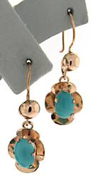 Cute Yellow Gold Vintage Turquoise Dangle Earrings