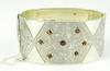 Superb Early English Wide Sterling Bangle with Garnets