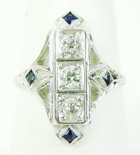 20K White Gold Diamonds & Sapphires Antique Ring, 8