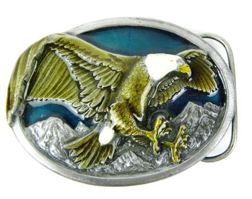 Vintage Bergamot Enameled Eagle Belt Buckle