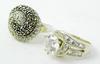 2 Fancy Sterling Silver Gemstone Rings