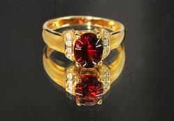 Stunning Natural Garnet & Diamond Ring in 14k