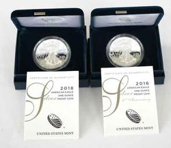 2016 W And 2018 W Proof Eagles With Boxs &Papers