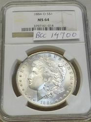 1884-O Morgan  Dollar, NGC MS-64, Near GEM,