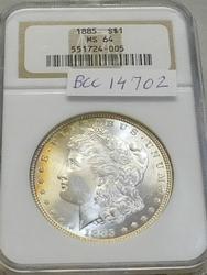 1885 Morgan  Dollar, NGC MS-64, Near GEM,