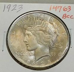 1923 Peace Dollar, toning