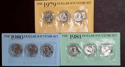 3 X 3 COIN SOUVENIR DOLLAR SETS 1979-1980-1981 P-D-S