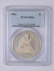 PR63 1863 Seated Liberty Silver Dollar - Graded PCGS