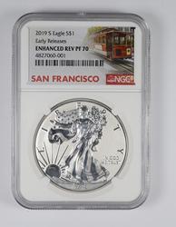 Enhanced Rev PF70 2019-S American Silver Eagle - San Francisco - NGC