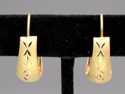 Fancy 18KT Yellow Gold Textured Hoop Earrings