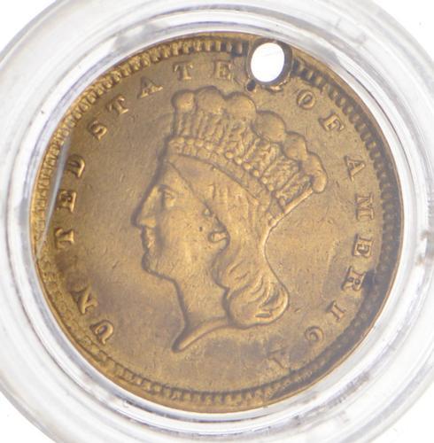1857-C Indian Princess Head Gold Dollar - Holed