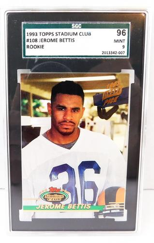 1993 Jerome Bettis Topps Rookie Football Card, MT 9