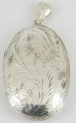 Sterling Silver Massive Etched Photo Locket Pendant