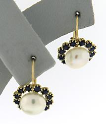 Beautiful Sapphire Halo & Pearl Earrings