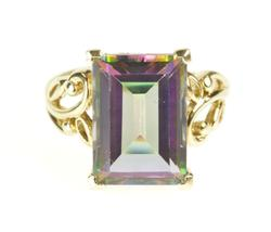 10K Yellow Gold Mystic Topaz Lotus Butterfly Cocktail Ring
