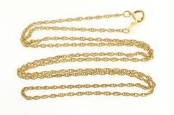 14K Yellow Gold 1.4mm Rolling Cable Link Twist Chain Necklace