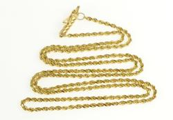 14K Yellow Gold 1.6mm Rope Chain Rolling Spiral Twist Necklace